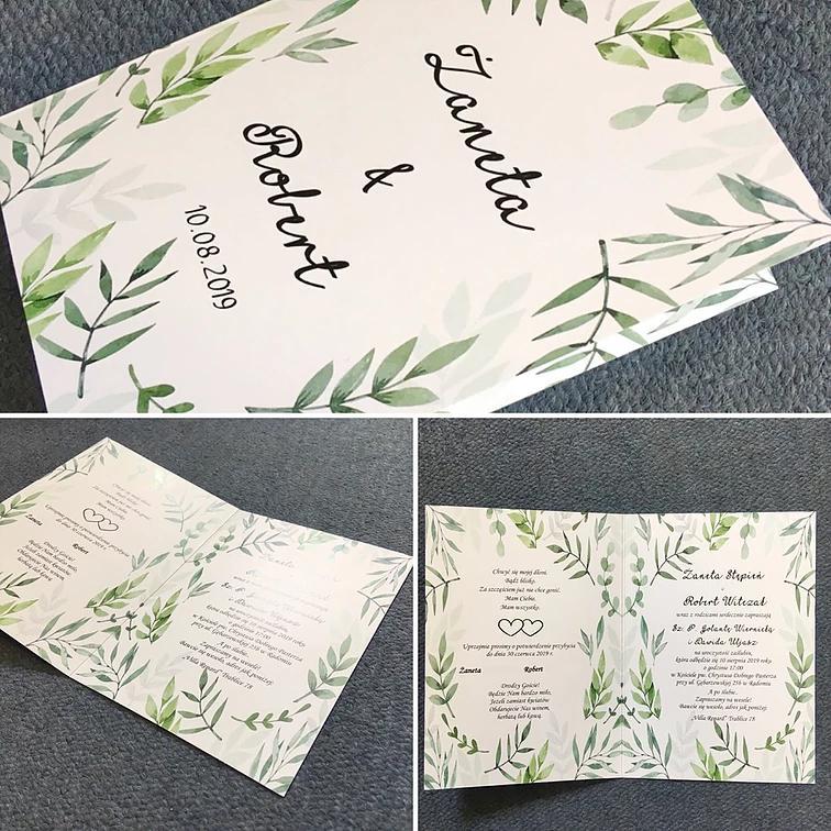zaproszenia składane z motywem roślinnym