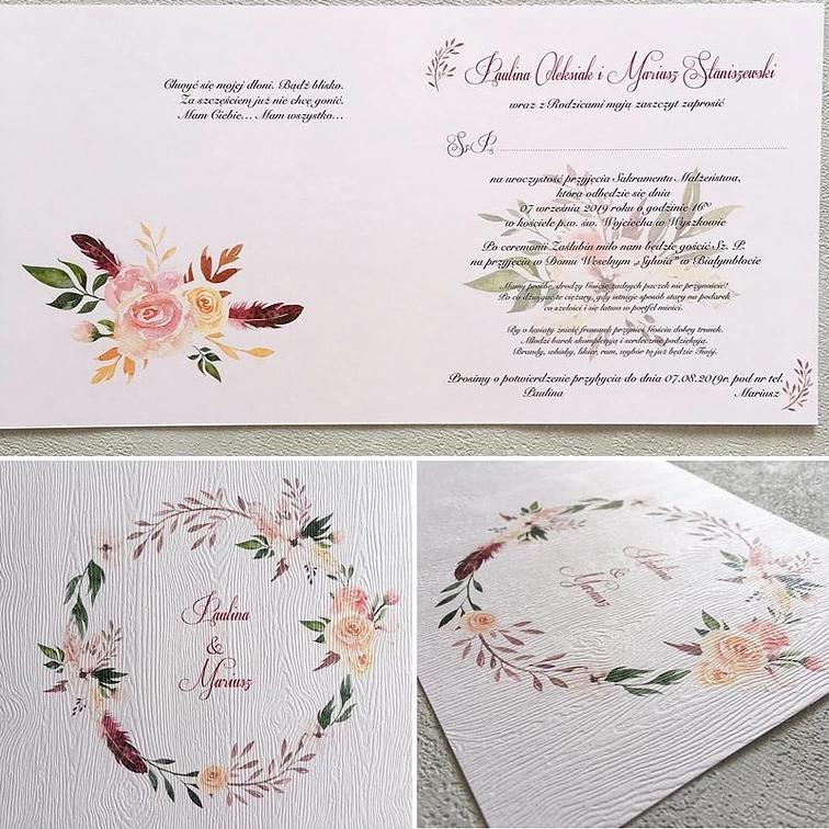 zaproszenia ślubne drukowane w KRM Druk